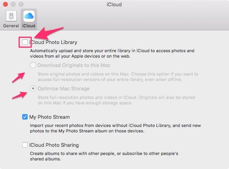 Настройка iCloud Photo Library на Mac
