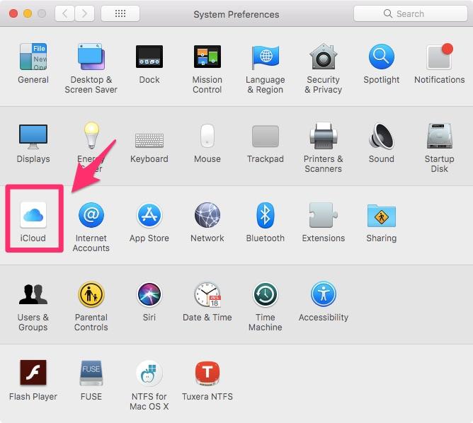 iCloud на MacBook через Apple ID