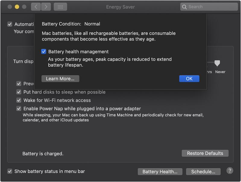 функція «управління акумулятором MacBook»