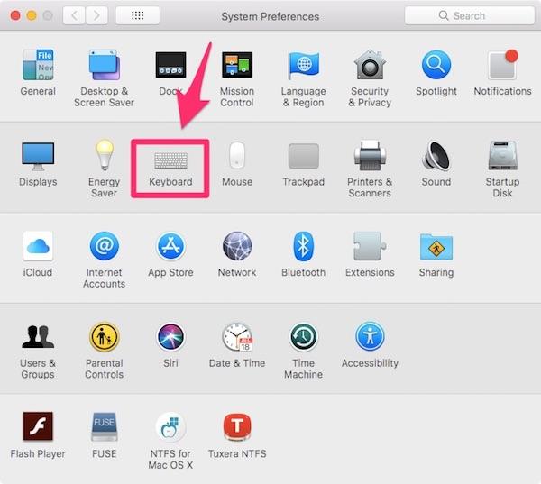 Включение панели символов на Mac