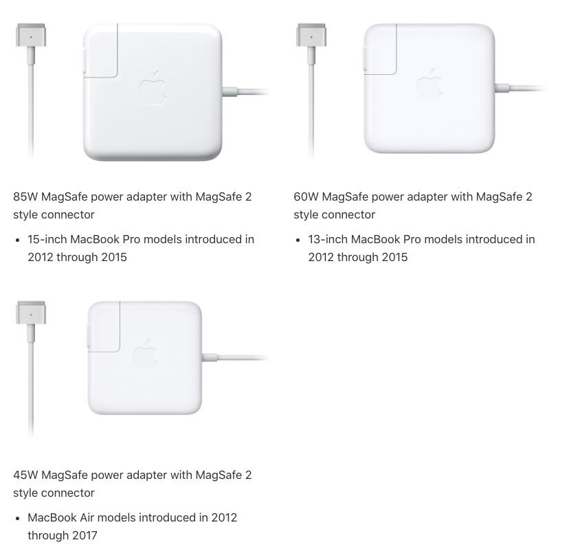 Какие зарядки подходят для разных моделей MacBook