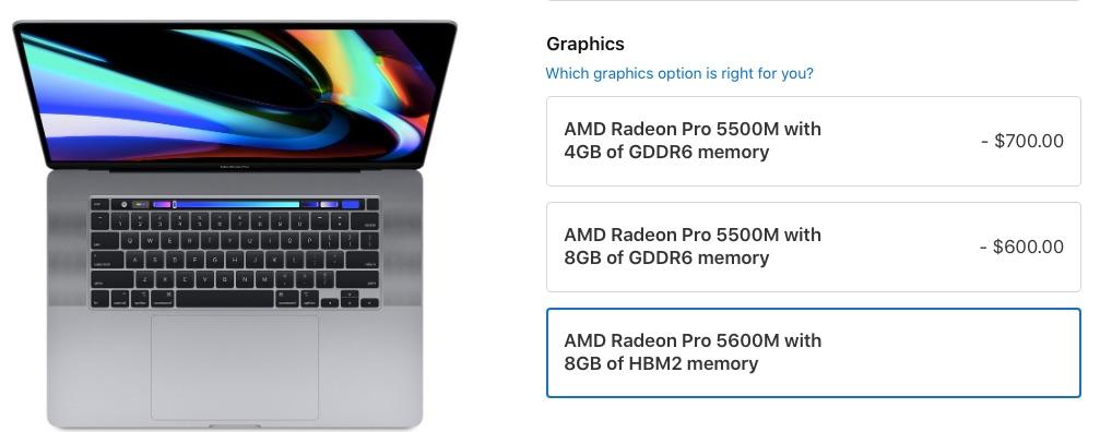 AMD Radeon Pro 5600M з 8 ГБ пам'яті HBM
