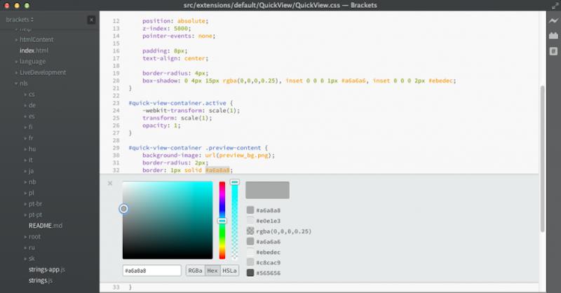 Редактор кода для macOS Brackets