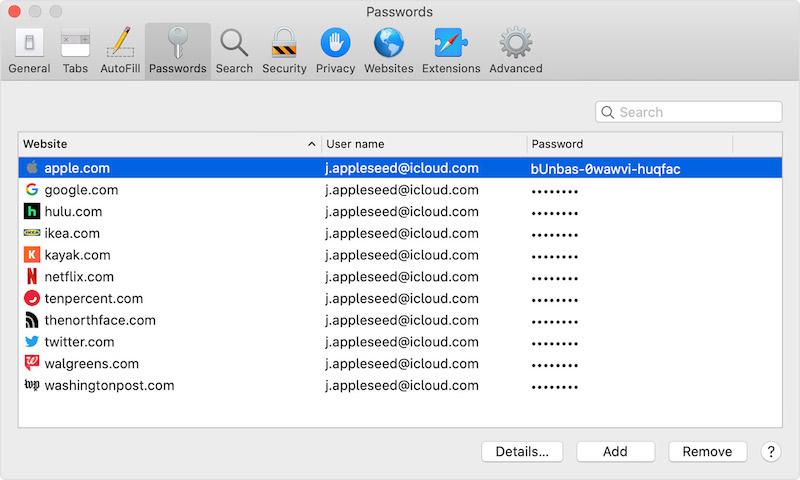Включение сохранения паролей в Safari на Mac