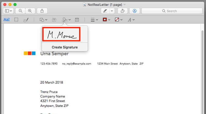 добавление подписи к документу на Apple Mac