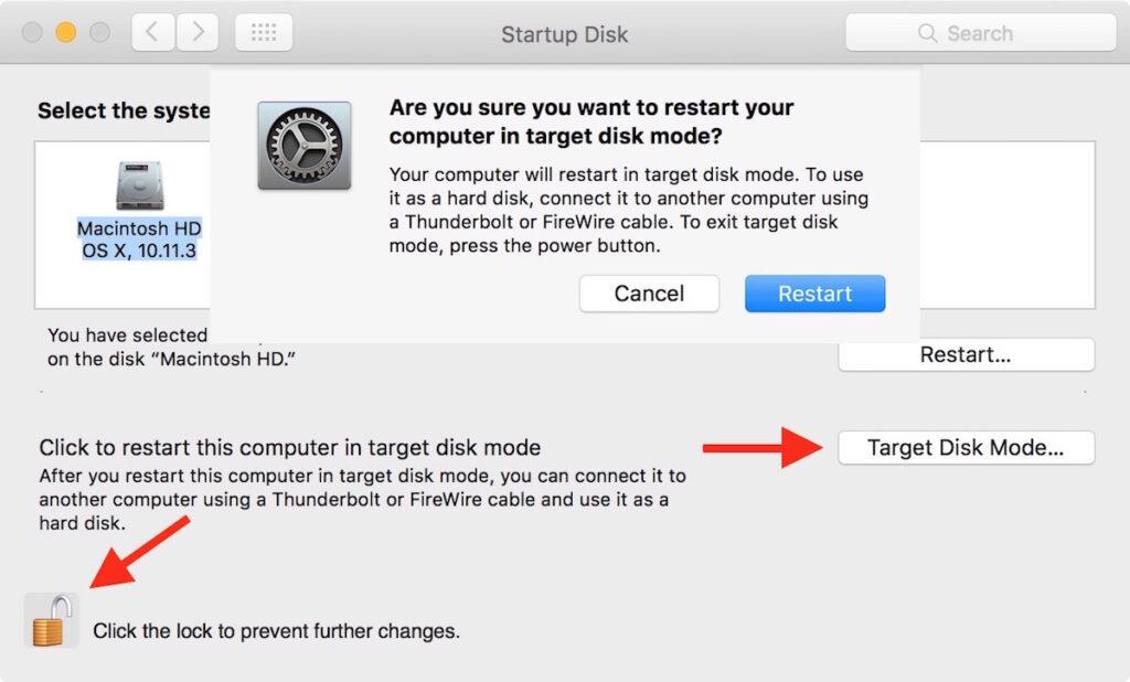 включение режима внешнего диска на Мак
